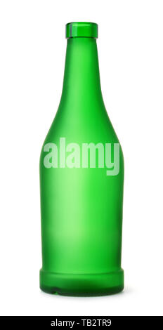 Front view of empty green matt bottle isolated on white - Stock Photo