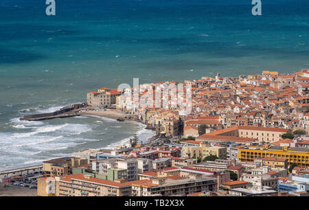 Elevated view of Cefalu old town, Sicily. - Stock Photo