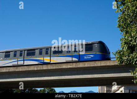 The Skytrain elevated light rapid transit system in Vancouver, BC, Canada - Stock Photo