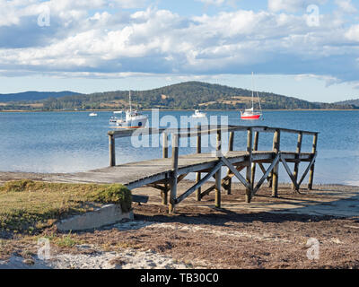 A small jetty at St Helens on the East Coast of Tasmania in Australia. - Stock Photo