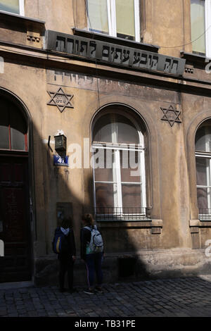 Krakow. Cracow. Poland. House of study of Talmud for the members of Kowea Itim le-Tora (The Society for Torah studies) jewish group. - Stock Photo