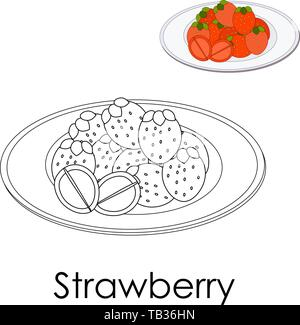 Coloring book Forest strawberry on a plate. Monochrome illustration Large berries with leaves. Poster print for leisure kid. Restaurant menu, paper sc - Stock Photo