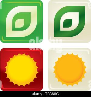 Vector illustration. Set of two ecology icons on buttons. Leaf and sun. - Stock Photo