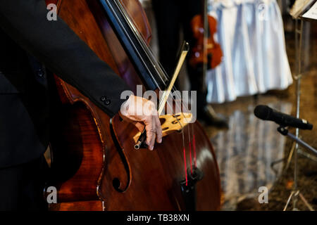 close up musician's hand is playing double bass in indoor event - Stock Photo