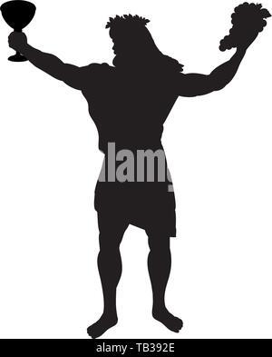 Dionysus Bacchus god wine silhouette ancient mythology fantasy - Stock Photo