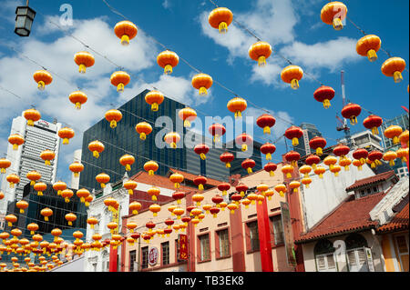 11.02.2019, Singapore, , Singapore - Annual street decoration with lanterns for the Chinese Lunar New Year festival along the South Bridge Road in Sin - Stock Photo