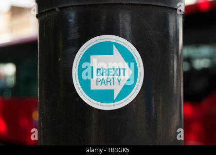 sticker printed by soopa doopa branding on lamppost promoting the brexit party, in richmond upon thames, surrey, england - Stock Photo