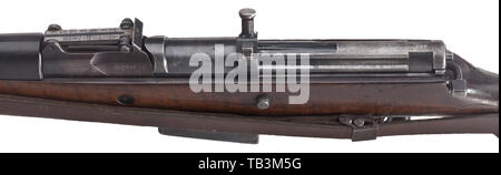 A G 41(W) self-loading rifle, code 'ac', early model, field trials, Undated, circa mid 1941. Bolt release button below cocking handle. No scope rail. Short bolt guide rib (Kammerbahn-Rippe). Recoil spring rod ribbed at the end. Cal. 8 x 57, no. 2028. Completely matching-numbered. Good bore. On left side of cartridge case marked 'G 41(W) - 2028ac'. Acceptance mark eagle/359 on all parts. Original bluing partly spotted. Dark walnut stock with wear marks. Black Bakelite hand guard. Complete with original strap and cleaning rod. Very rare collector's, Additional-Rights-Clearance-Info-Not-Available - Stock Photo