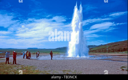 Eruption of Strokkur geyser, Haukadalur Valley, Iceland - Stock Photo