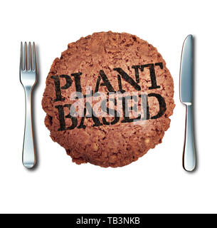 Plant based meat alternative as a vegan burger and fake animal protein representing a vegetarian hamburger  branded with cooked text. - Stock Photo