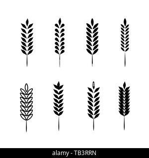 Wheat Ears Icons and Logo Set. For Identity Style of Natural Product Company and Farm Company. Organic wheat, bread agriculture and natural eat. - Stock Photo