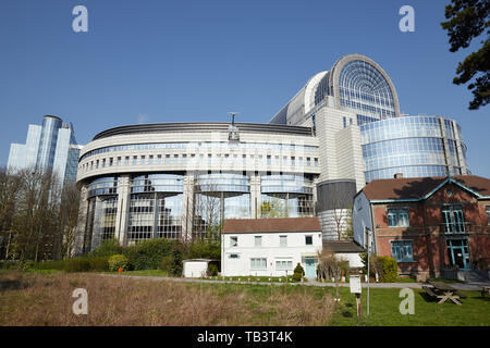 01.04.2019, Brussels, Brussels, Belgium - View of the European Parliament with the building part of the Parliament named after Paul Henri Spaak. In th - Stock Photo