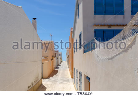 View on one of the streets in the village of Isla de Tabarca, Alicante, Costa Blanca, Spain - Stock Photo