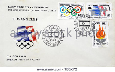 Turkish First Day Cover 1984, Los Angeles Olympic Games - Stock Photo