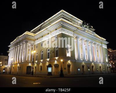 Alexandrinsky Theatre, Russian State Pushkin Academy Drama Theater, Saint Petersburg, Russia - Stock Photo