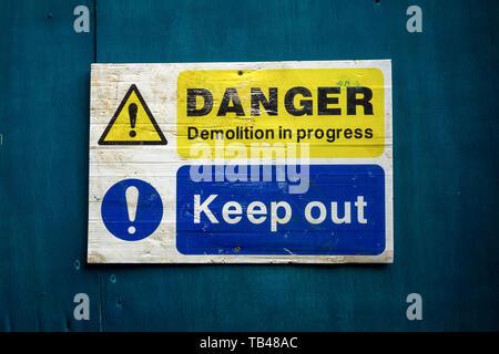Danger demolition in progress sign - Stock Photo