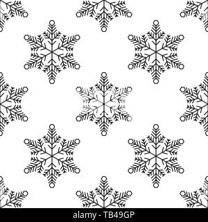 Christmas, new year seamless pattern, snowflakes line illustration. Vector icons of winter holidays, cold season snowfall. Celebration party black whi - Stock Photo