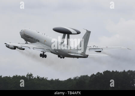 A Boeing E-3A from the NATO Airborne Early Warning Force lands at Mont-de-Marsan Air Base during the NATO Tiger Meet 2019 exercise - Stock Photo