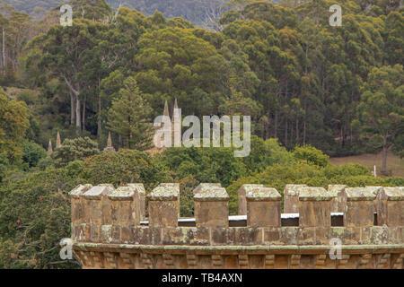 Church set amongst trees at Port Arthur, Tasmania - Stock Photo