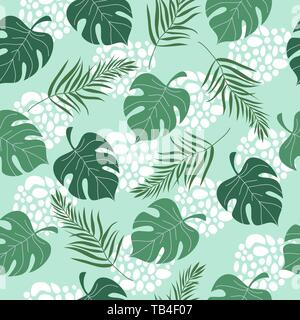 Hand drawn seamless pattern with tropical leaves on blue background. Vector flat illustration - Stock Photo