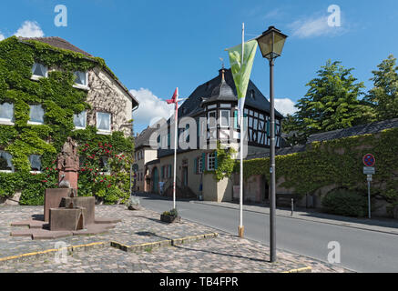 half timbered house on market square in kiedrich germany - Stock Photo