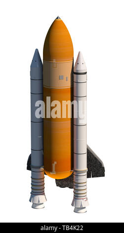 American Space Shuttle Isolated Over White Background. 3D Illustration. - Stock Photo
