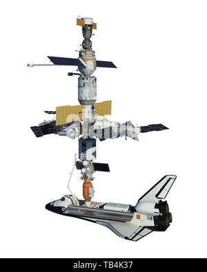 Space Shuttle And Space Station Isolated On White Background. 3D Illustration. - Stock Photo