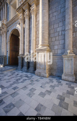 Basilica Cathedral of Arequipa located in the Plaza de Armas or Main Square of Arequipa, Peru - Stock Photo