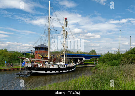 La Malouine, French twin masted Brigantine built in Poland 1972  On the Gloucester and Sharpness Canal at Netheridge Bridge, on it's way to the Glouce - Stock Photo