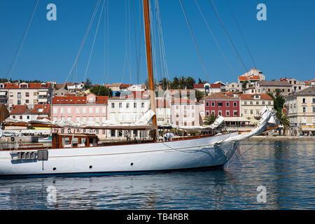 Smart traditional yacht moored in the harbour of Mali Lošinj, Lošinj, Croatia - Stock Photo