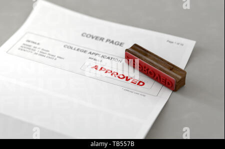A wooden stamp with embossed text stamping the word approved on a college application form - 3D render - Stock Photo