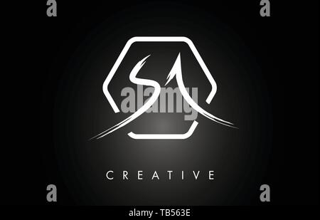 SA S A Brushed Vector Letter Logo Design with Creative Modern Brush Lettering Texture and Hexagonal Shape. Brush Letters Design Logo Vector Illustrati - Stock Photo