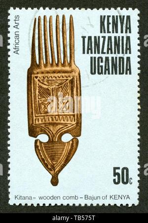 Stamp print in Uganda,Tanzania,Kenya. African Arts - Stock Photo