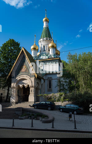 Sofia, Bulgaria - May 2, 2019:  Church of St Nicholas the Miracle-Maker is a Russian Orthodox church in central Sofia, Bulgaria - Stock Photo