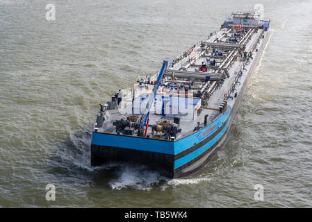 Rotterdam, Netherlands - May 9, 2019 : A barge on the new Meuse river aerial view - Stock Photo