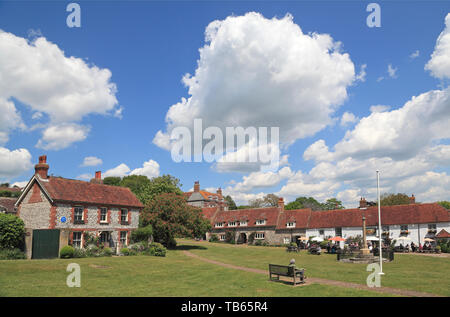 The picturesque village green and  Tiger Inn at East Dean, Sussex, UK - Stock Photo