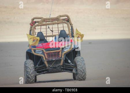 Ladakh, India: Dated- May 8, 2019: An off-road desert bike ATV in Ladakh, India. Adventure rides on ATV in Ladakh desert. - Stock Photo