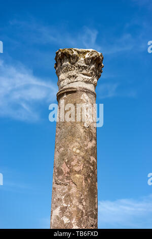 Column with capital in Corinthian style, Ostia Antica, Roman colony founded in the seventh century BC. Rome, UNESCO world heritage site, Italy, Latium - Stock Photo