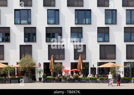 the Palladio Cafe at the Maternus square in the district Rodenkirchen, Cologne, Germany.  das Palladio Cafe am Maternusplatz im Stadtteil Rodenkirchen - Stock Photo