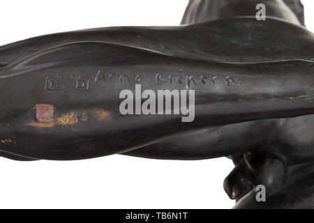 Arno Breker (1900 - 1991) - an Olympic athlete, decathlete Jürgen Hingsen, Bronze with noble dark, brown-green patina. Signed at the bottom of his left lower leg 'Arno Breker' with date '83' and number '6/12', foundry mark 'Fondeur H.S.D.' Height 53 cm. In good condition. The athlete is posed with arms raised in victory. A commanding, elegantly formed male athletic bronze figure. Of the greatest rarity. only twelve examples having been produced. To our knowledge, during the past 25 years this figure has only been offered twice on the arts market. Cf. Rudolf Conrades, Das Sc, Editorial-Use-Only - Stock Photo