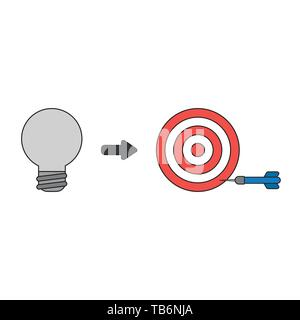 Vector icon concept of grey light bulb with bulls eye and dart miss the target. Black outlines and colored. - Stock Photo