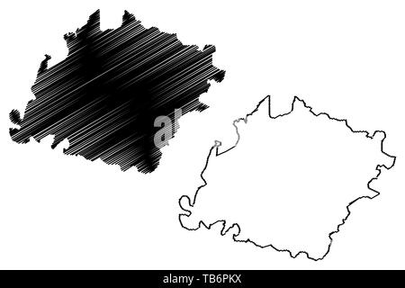 Ibb Governorate (Governorates of Yemen, Republic of Yemen) map vector illustration, scribble sketch Ibb map - Stock Photo