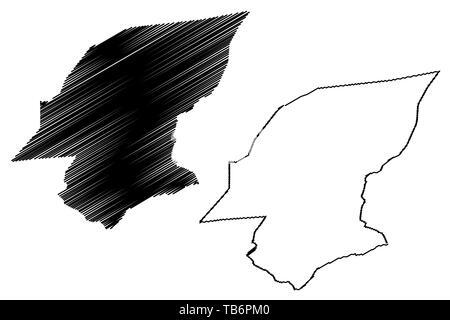 Hadhramaut Governorate (Governorates of Yemen, Republic of Yemen) map vector illustration, scribble sketch Hadramawt map - Stock Photo