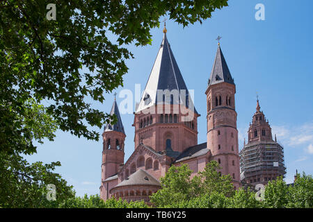 st. martin cathedral, dom of Mainz, Germany on a sunny day, photographed through green trees - Stock Photo