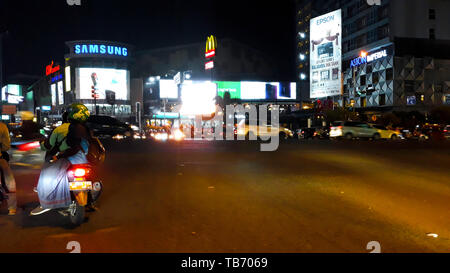 BEKASI, INDONESIA, MAY 31, 2019 : Unrecognied People. Motorbike is waiting for the green light when jammed on the highway - Stock Photo
