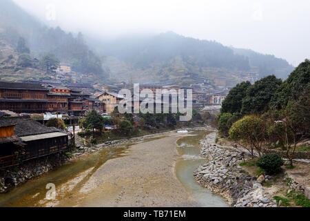 The beautiful village of Xijiang in Eastern Guizhou, China. - Stock Photo