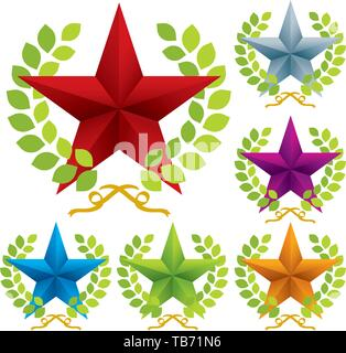 Vector illustration of ornate star with laurel wreat in six different colors. - Stock Photo
