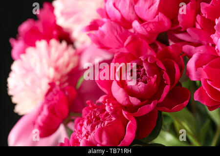 Bouquet of beautiful pink peonies against dark background, space for text