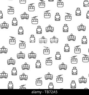 Types Of Railway Transport Seamless Pattern Vector. Modern Train, Vintage Funicular And Subway City And Mountain Group Of Electric Rail Transport Mono - Stock Photo