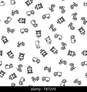 Types Of Town Transport Seamless Pattern Vector. Motorcycle, Delivery Truck, Train Or Metro Means Of Transport Monochrome Texture Icons. City Movement - Stock Photo
